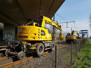 Werken aan het spoor, machines