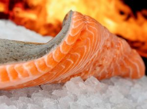 Vis, zalm op ijs