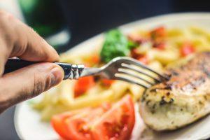 Eten, voedsel, bord, hand, vork