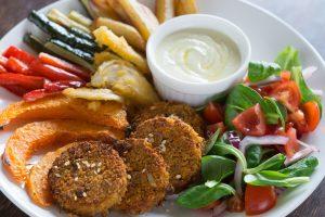 Maaltijd, groenten, burger, saus
