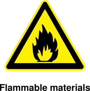 Symbool brandbare materialen