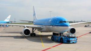 Vliegtuig van de KLM op de luchthaven