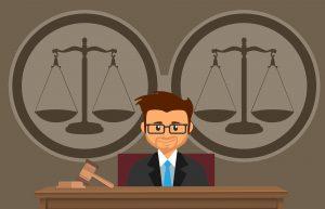 Rechter, rechtbank, weegschalen, rechtershamer