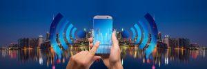 Smartphone, smart home, skyline