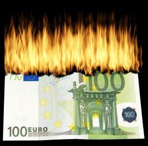 Verbrand bankbiljet van 100 euro