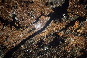Satellietfoto van New York s'nachts